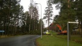 Ojien perkaustöiden yhteydessä jouduttiin Hiuntien varrelta kaatamaan myös muutama puu.