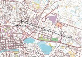 Kartasta näkyy voimalinjan rakentamisalue.
