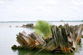 Miltei satavuotiaan Odine-purjelaivan hylky on osittain pinnan yläpuolella. Se on yksi hylkyretken kohteista.