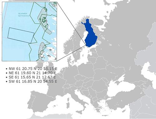 Jaakonmeren sijainti länsirannikolla, Eurajoen edustalla.