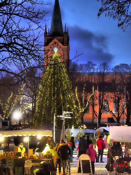 Illan hämärtyessä torin, markkinakadun ja puiston tunnelmavalaistus pääsee oikeuksiinsa. Torikuusi sai tänä vuonna ylleen säihkyvät valot.
